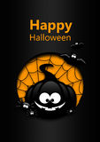 Halloween greetings card with black pumpkin, bats and spiders Royalty Free Stock Images