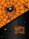 Halloween greetings card with  black spiders Stock Photo