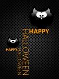 Halloween greetings card with cartoon owls Stock Photos