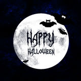 Halloween greetings card with moon and bats Stock Photo