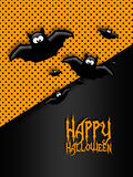 Halloween greetings card with moon and bats Royalty Free Stock Photo