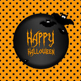 Halloween greetings card with moon and bats Royalty Free Stock Photos