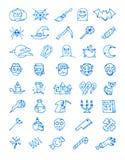 Halloween 40 griezelige hand getrokken die pictogrammen met een blauwe viltpen worden getrokken Royalty-vrije Stock Foto's