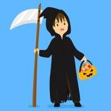 Halloween Grim Reaper Costume Vector Illustration Stock Photo