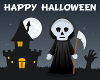 Halloween Grim Reaper and Haunted House Stock Photo