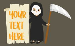 Grim Reaper Holding an Empty Banner. Halloween Cartoon Vector. Halloween grim reaper holding an empy banner cartoon Royalty Free Stock Photo