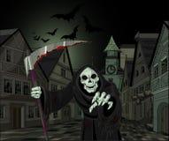 Halloween Grim Reaper. Halloween horrible Grim Reaper on cityscape background stock illustration