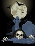 Halloween Grim Reaper. Illustration of Halloween horrible Grim Reaper over tombstone Stock Images