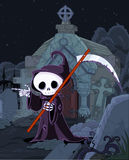 Halloween Grim Reaper. Illustration of Halloween grim reaper with scythe pointing over tombstone Royalty Free Stock Images