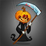 Halloween grim reaper with pumpkin head. Vector jack-o-lantern character mascot. Halloween grim reaper with pumpkin head. Vector jack-o-lantern character mascot Royalty Free Stock Photography