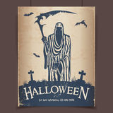 Halloween grim reaper. With a scythe at the cemetery vintage poster Royalty Free Stock Photo
