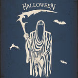 Halloween grim reaper. With a scythe vintage poster Stock Image