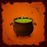 Halloween-großer Kessel und -spinnen Stockfoto