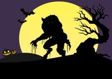 Halloween 2 grobli wilk ilustracja wektor