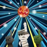 Halloween-Groep discopartij Stock Foto's