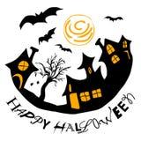 Halloween-groet met huizen en knuppels Royalty-vrije Stock Foto's
