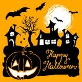 Halloween-groet met huizen, pompoen en knuppels Royalty-vrije Stock Afbeeldingen