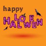 Halloween-groetkaart met suikergoed violet type Stock Afbeelding