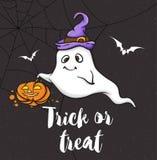 Halloween-groetkaart met weinig spook royalty-vrije illustratie
