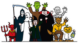 Halloween group. Stylised illustration of halloween group having a good time Stock Image