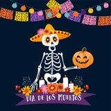 Halloween, Grußkarte Dia de Los Muertos Mexikanischer Tag der toten Einladung Skelett mit Sombrerohutholding stock abbildung