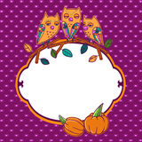 Halloween-Grußkarte mit Eulen Stockbilder