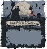 Halloween-Grußkarte mit kleiner Hexe Stockbild