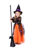 Halloween: Grumpy Little Girl Witch Stock Images