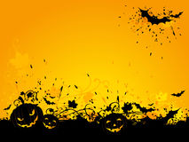 Halloween grunge background with bats and jack-o-lanterns. Royalty Free Stock Photo
