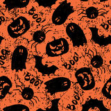 Halloween grunge pattern. Halloween pattern with pumpkin, bat, spider, Ghost and Boo!. Endless texture for wallpaper, web page background, wrapping paper and etc Royalty Free Stock Photography