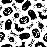 Halloween grunge pattern. Halloween pattern with pumpkin, bat, spider, Ghost and Boo!. Endless texture for wallpaper, web page background, wrapping paper and etc Stock Photo