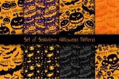 Halloween grunge  pattern with skull, pumpkin and bat. Royalty Free Stock Photos