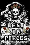 Halloween grunge RIP skull Stock Image