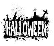 Halloween grunge silhouette background. Halloween grungy silhouette background with graveyard and zombies, black ink isolated on white Royalty Free Stock Photo