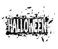 Halloween grunge silhouette background. /Halloween grungy silhouette background withtext and swarm of bats, black ink isolated on white Stock Images