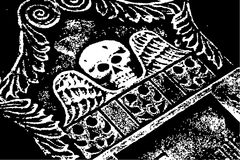 Halloween grunge skull wings. Grayscale tombstone Royalty Free Stock Photo