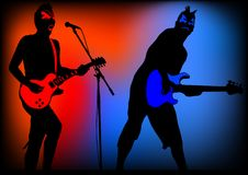 Halloween guitarist. Drawing guitar. Silhouette on color background Royalty Free Stock Photos
