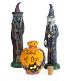 Halloween häxa och trollkarl med ull av slagträcontaien Fotografering för Bildbyråer