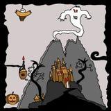 Halloween ha frequentato il paesaggio del castello del fantasma Fotografie Stock