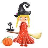 Halloween ha illustrato la ragazza sveglia della strega con la scopa, il gatto, il cappello e la zucca Immagine Stock