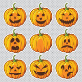 Halloween ha impostato con le zucche Fotografia Stock