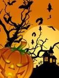 Halloween ha intagliato il cimitero della luna dei blocchi della zucca illustrazione di stock