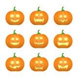 Halloween ha intagliato le zucche Emozioni scolpite del fronte fissate Vettore illustrazione di stock