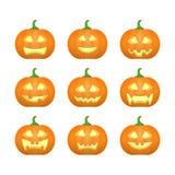 Halloween ha intagliato le zucche Emozioni scolpite del fronte fissate Vettore illustrazione vettoriale