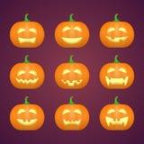 Halloween ha intagliato le zucche Emozioni scolpite del fronte fissate Vettore royalty illustrazione gratis