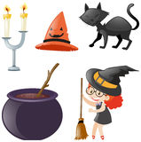 Halloween ha messo con la strega ed il gatto nero Immagini Stock