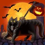 Halloween ha spaventato il gatto ed il topo con la zucca Fotografia Stock