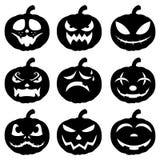 Halloween hace frente al sistema del icono de la calabaza fotos de archivo libres de regalías