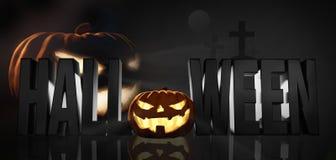 Halloween Halloween-de pompoenen voor 3d Halloween geven terug royalty-vrije illustratie