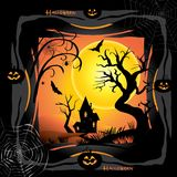 Halloween. Night background with pumpkin, bat, spider web, fantasy forest, haunted house and full moon. Poster or invitation template for  party, adwertising Royalty Free Stock Photo